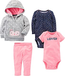 Simple Joys by Carter's Baby Girls' 4-Piece Fleece Jacket, Pant, and Bodysuit Set