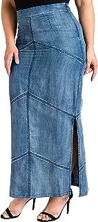 Plus Size Modern Women's Tencel Denim Maxi Pencil Skirt