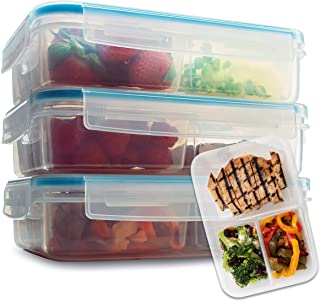 Komax Biokips Set of 3 Lunch Containers | 37-oz Compartment Divided Lunch Containers | BPA-Free Lunch Containers for Adults & Kids | Meal Prep & Portion Control Bento Box | Microwave & Dishwasher Safe