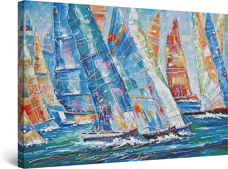 授与 Startonight Canvas Wall Art Abstract - 祝開店大放出セール開催中 Parade Boats of Sailing