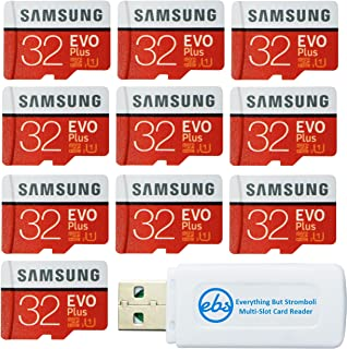 Samsung 32GB Evo Plus MicroSD Card (10 Pack EVO+ Bundle) Class 10 SDHC Memory Card with Adapter (MB-MC32G) with (1) Everything But Stromboli (TM) Micro & SD Card Reader