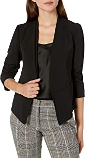 Vince Camuto Womens 9199522 Collarless Open Front Blazer Long Sleeve Blazers or Sports Jacket - Black