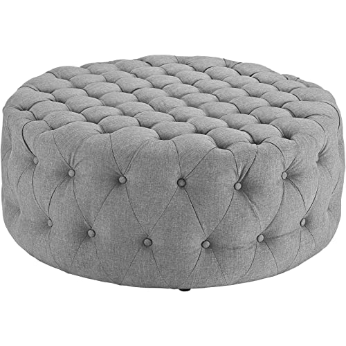 Amazon Com Modway Amour Fabric Upholstered Button Tufted Round Ottoman In Light Gray Furniture Decor