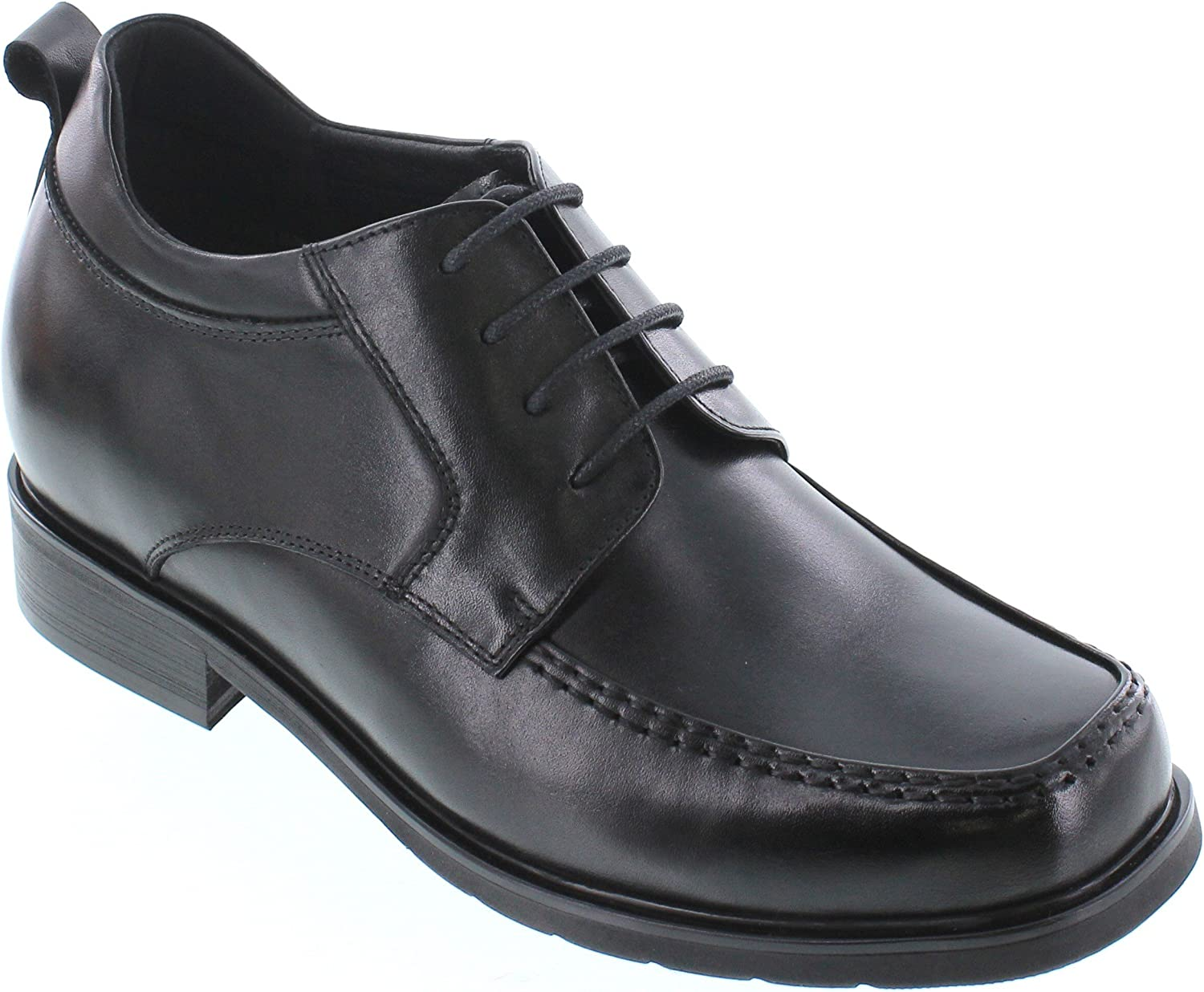 CALTO Men's Invisible Height Increasing Elevator Shoes - Black Premium Leather Lace-up Square-Toe Formal Oxfords - T52714