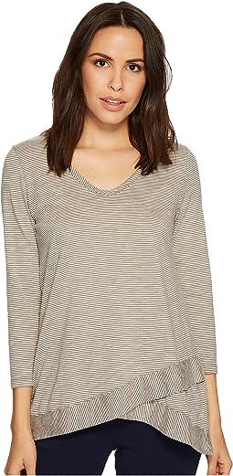 Skinny Stripe 3/4 Sleeve Stripe Crossover Hem Tee