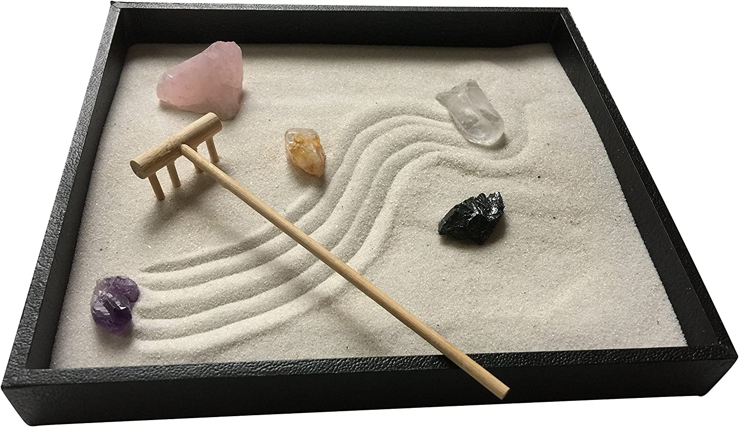 Healing Crystal Zen Garden with White Sand and Bamboo Rake