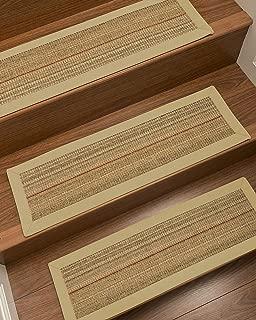 NaturalAreaRugs 100% Natural Fiber Resort, Sisal Brown/Multi, Handmade Custom Stair Treads Carpet Set of 4 (9