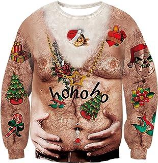 cec07398ce5a7 RAISEVERN Pull de Noël Pullover, Funny Sweatshirts pour Hommes Femmes  Unisexe Ugly Pull 3D Imprimé