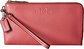 COACH Womens Pebbled Leather Double Zip Wallet
