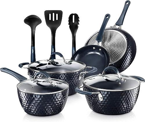 Nutrichef Nonstick Cookware Excilon Home Kitchen Ware Pots & Pan Set with Saucepan Frying Pans, Cooking Pots, Lids, U...