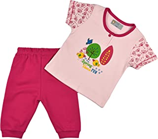 ALM Kids Baby Baby Rompers two piece Half Sleeves Variations Pink and Blue for Baby Boy Baby Girl From New born upto 12 Mo...