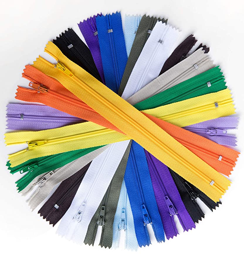 100pcs 9 Inch Nylon Coil Zippers Sewing Zippers for Sewing Crafts (Assorted Colors)