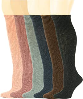 6 pairs / 4 Pairs Women Wool Cable Knit Knee High/Thigh High/Crew Winter Boot Socks 9-11
