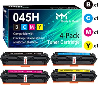 Compatible 4-Pack Cartridge 045H 045 Toner Cartridge CRG-045H (BK+C+M+Y High Capacity) Used for Canon MF634Cdw MF632Cdw LBP612Cdw Printer, by MuchMore