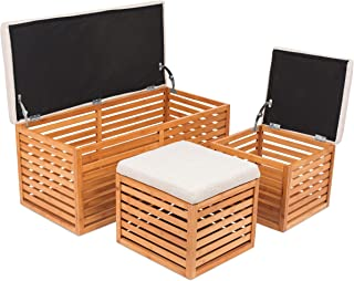 BIRDROCK HOME Bamboo Storage Bench and Ottomans Set - Bamboo Bench with 2 Nesting Ottomans - Reversible Linen Cushioned Top and Serving Tray - Natural Spa Bench Ottoman
