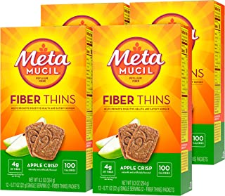 Metamucil Fiber Thins, Psyllium Husk Fiber Supplement, Digestive Health Support and Satisfy Hunger, Apple Crisp Flavored, ...
