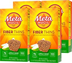 Metamucil Fiber Thins, Apple Crisp Flavored Dietary Fiber Supplement Snack with Psyllium Husk, 12 servings (Pack of 4)