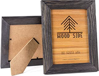 Rustic Wooden Picture Frame 4x6 Inch - Set of 2-100% Natural Eco Solid Distressed Wood with Real Glass - Made for Wall and Tabletop Display - Dark Grey
