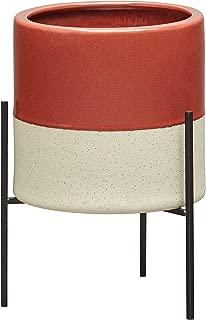 Rivet Mid-Century Ceramic Planter with Stand, 14