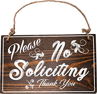 Bleecker Station Rustic Style No Soliciting Sign for House with Jute Rope, Solid Wood, Farmhouse Door Sign, Espresso with White Lettering
