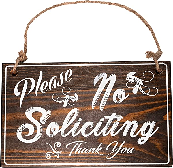 Bleecker Station Rustic Style No Soliciting Sign For House With Jute Rope Solid Wood Farmhouse Door Sign Espresso With White Lettering