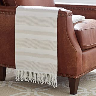 Stone & Beam Striped Throw Blanket, Soft and Easy Care, 80