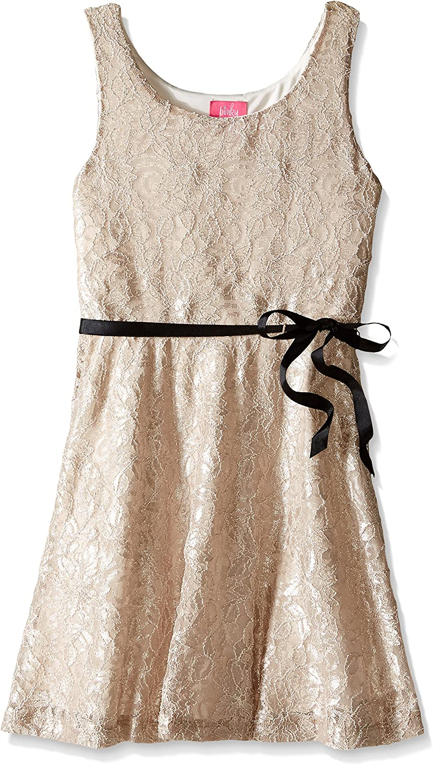 Pinky Girls' Big Shimmer Lace Dress with Ribbon