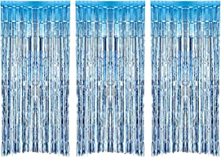 Sumind 3 Pack Metallic Tinsel Curtains, Foil Fringe Shimmer Curtain Door Window Decoration for Birthday Wedding Party (Light Blue)