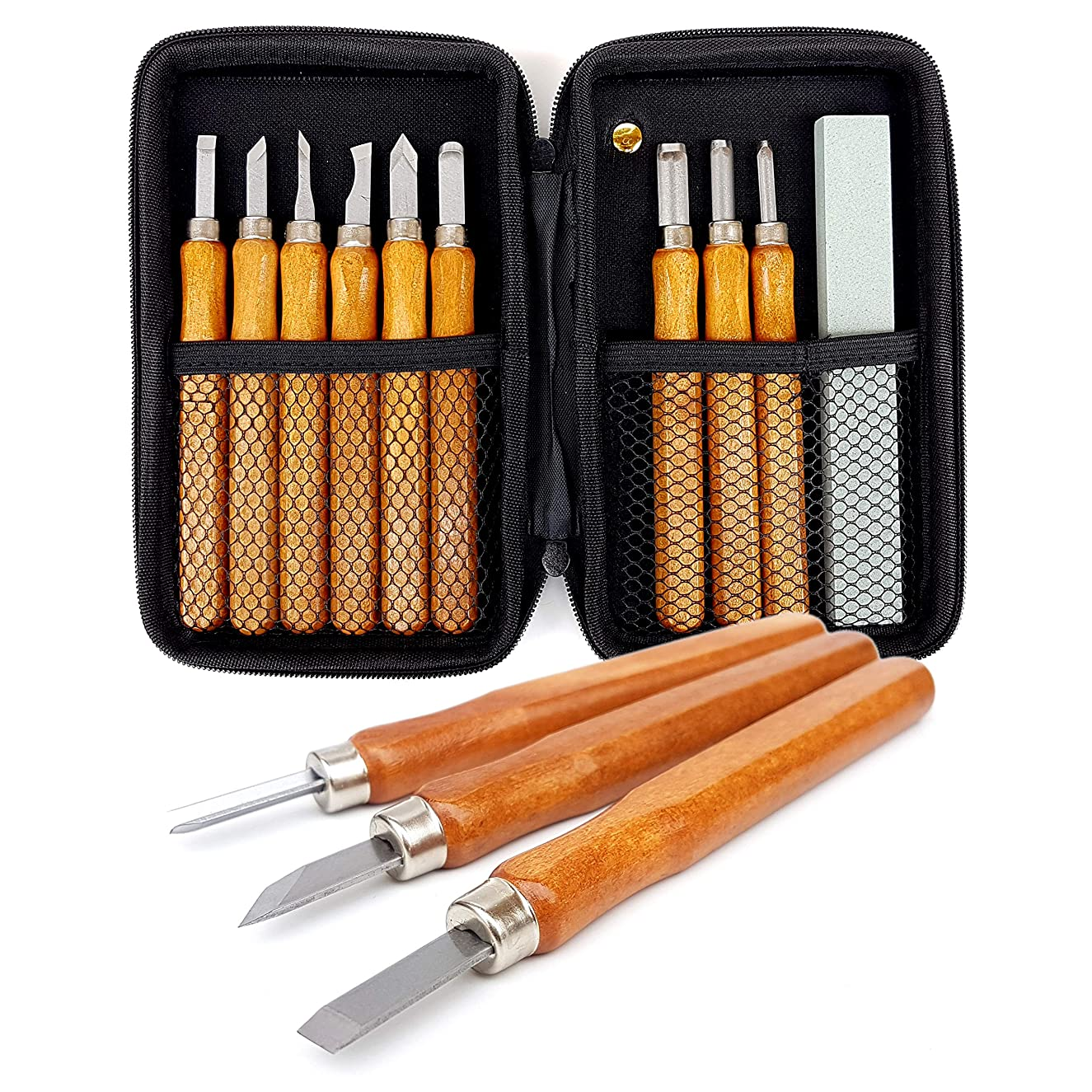 14 Piece Set Beginners Carving Kit with Protective Case, Chisels, Gouges, Scraper, V Parting Tool, Whetstones   for Wood, Clay, Sculpting, Whittling, Pumpkin, Balsa, Wax, Linoleum