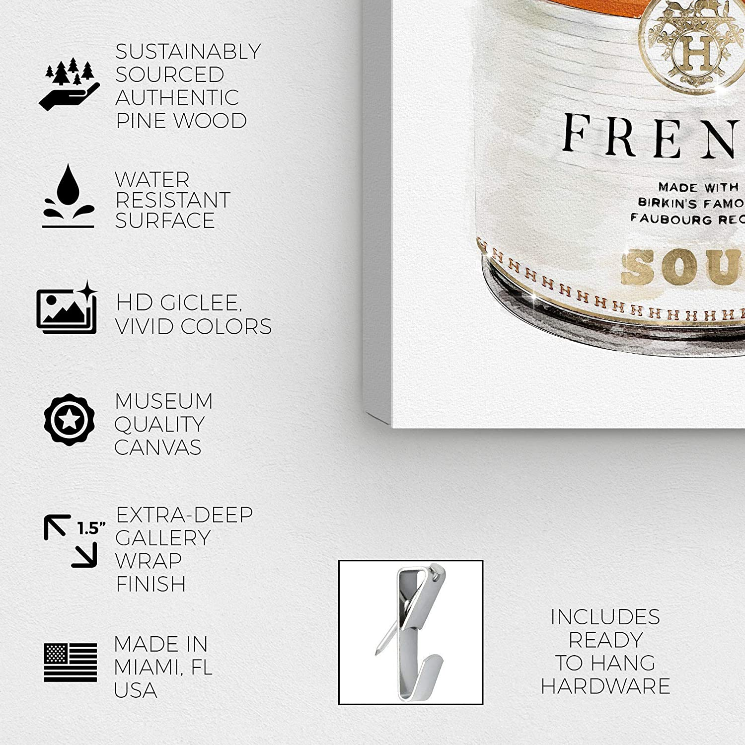 Oliver Gal 'French Luxe Soup' The Fashion Wall Art Decor Collection  Contemporary Premium Canvas Art Print