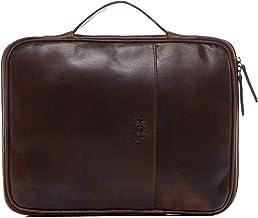 SID & VAIN Laptop-Hülle echt Leder Josey groß Organizer Reise-Etui Laptoptasche Notebook-Sleeve braun
