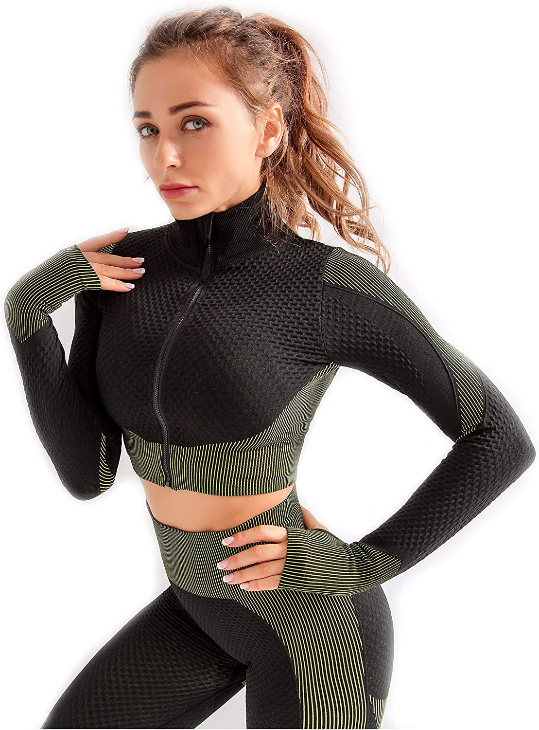 New product! New type Redqenting Women's Cute Crop Portland Mall Tops Seamless Sleeve Long Yoga