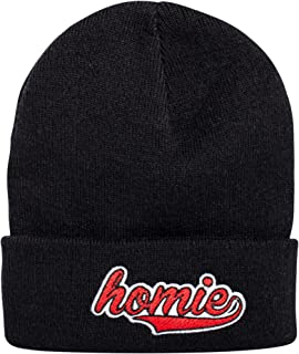 Blackskies Bobble Beanie Unisex Black Red White Hat