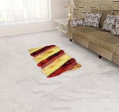 U.P HANDLOOM TEXTILE Cotton Malai Dori Rug - 11.7 inches x 7.8 inches, Red and Golden