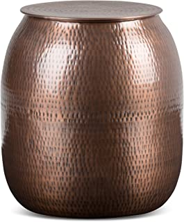 Simpli Home AXCMTBL-07 Griffen Contemporary 19 inch Wide Metal Storage Accent Side Table in Antique Copper, Fully Assembled