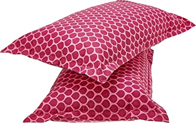 Amazon Brand - Solimo Mystic Drops 144 TC 100% Cotton Double Bedsheet with 2 Pillow Covers, Pink