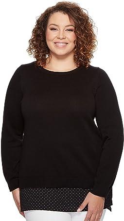 Plus Size Long Sleeve Tiny Dot Hem Sweater