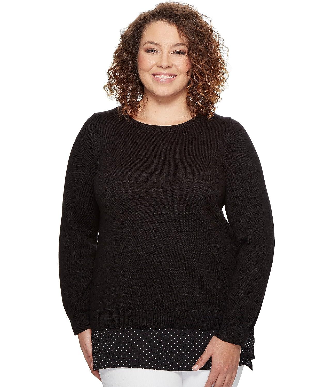 [マイケル マイケルコース] MICHAEL Michael Kors レディース Plus Size Long Sleeve Tiny Dot Hem Sweater トップス Black 3X (22W-24W) [並行輸入品]