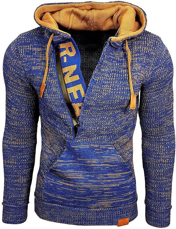 Zainafacai Men's Long Sleeve Pullover Hoodie Lightweight Zip Up Hooded Sweatshirt Causal Fleece Henley Shirt with Pockets