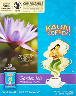 KAUAI Coffee Single-Serve Pods, Garden Isle Medium Roast Arabica Coffee from Hawaii's Largest Coffee Grower, Keurig-Compatible Cups - 120 Count