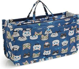 [ミコム] Micom バッグインバッグ 収納バッグ 化粧ポーチ 13ポケット ジッパーポケット 取っ手あり 軽量 動物柄 花柄 ハート柄 レディース かわいい 多機能 大容量 防水