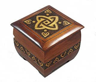 Modern Sailor Celtic Knot and Tribal Heart Handmade Box with Lock and Key Desk or Dresser Trinket Keepsake Holder Perfect Watch Storage Box