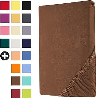 Heim24h Drap-Housse sur-Matelas Housse lit sommier tapissier Marron 90x200-100x200 cm en Jersey 100% Coton de Haute qualit...