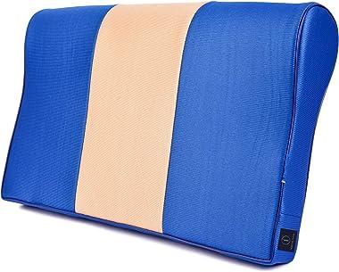 FABROYAL INDIA Cervical Memory Foam Pillow Double Contour Premium Medical Grade Universal Size ( Blue&Brown)