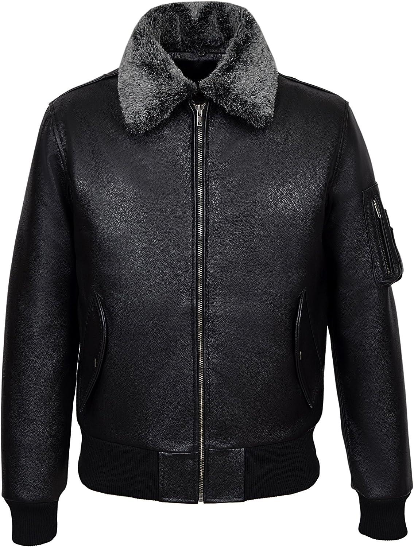 Pilot' Men's Cowhide Black Bomber Air Force Real Leather Jacket 2836