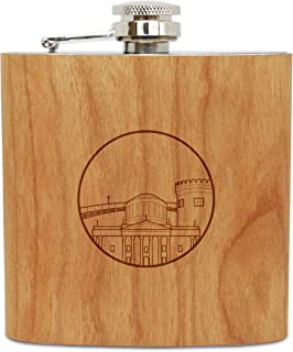 WOODEN ACCESSORIES COMPANY Cherry Wood Flask With Stainless Steel Body - Laser Engraved Flask With Dublin Design - 6 Oz Wood Hip Flask Handmade In USA