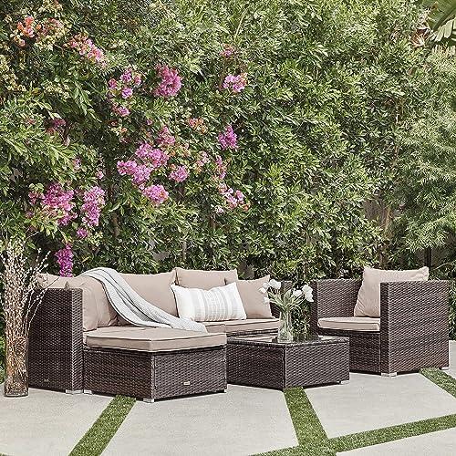 2021 BELLEZE online sale 6PC sale Outdoor Patio Furniture Wicker Rattan Sofa Table Cushion Water Resistant Steel, Brown online sale