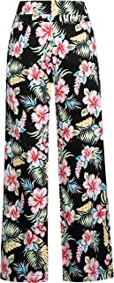 Women's Hibiscus High Rise Casual Wide Leg Floral Pants