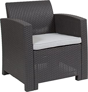 Flash Furniture Dark Gray Faux Rattan Chair with All-Weather Light Gray Cushion