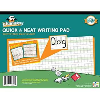 """Channie's Quick & Neat Writing Pad, Practice Handwriting & Printing Workbook, 80 Pages Front & Back, 40 Sheets, Grades 1st – 3rd, Size 8.5"""" x 11"""""""